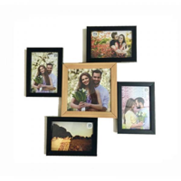 MULTI PHOTO FRAME BLACK AND BROWN