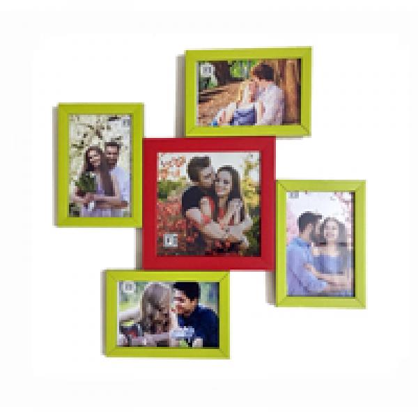 LOVELY MULTI PHOTO FRAME RED AND GREEN