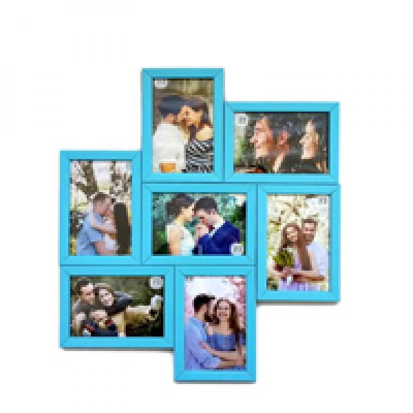 SEVEN- IN-ONE PHOTO FRAME - BLUE