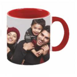 COLOUR INSIDE MUG WITH COLOURED HAND - RED